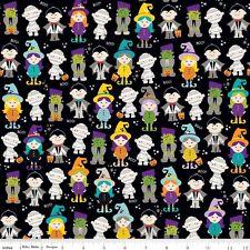 By 1/2 Yard Riley Blake Fabric Halloween Magic Parade Black trick or treat kids