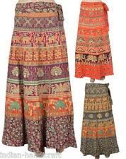 "5 Long Hand Block Print Wrap around Skirts Wholesale India 40"" UK"