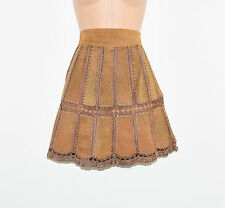 Vintage Brown Leather A-Line Pencil Women's Short Mini Skirt Size UK6 L17""