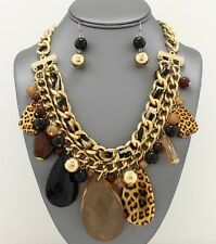 Statement Leopard Black Brown Pearl Bead Animal Gold Curb Chain Necklace Set