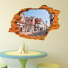 Retro street 3D Window View Removable Wall Sticker Art PVC Decal Decor Mural