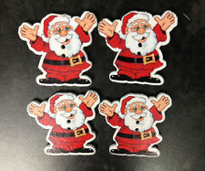 10 WOODEN SANTA CLAUS CHRISTMAS BUTTON CARD MAKING CRAFT SEWING EMBELLISHMENTS