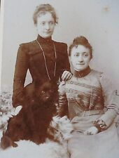 Antique CDV photo German Spitz Pomeranian on sheep skin ladies Signed Studio