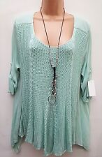 New italian Lagenlook Mint Green crochet Lagenlook Tunic Top uk 12 14 16 18