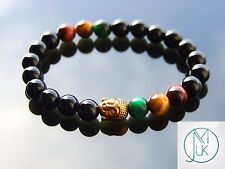 Buddha Mix Rasta Gemstone Bracelet Beaded 7-8'' Elasticated Chakra