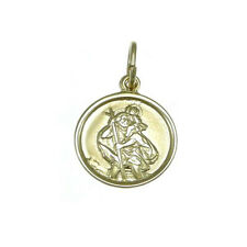 CHILDRENS LIGHT WEIGHT 9CT GOLD ST SAINT CHRISTOPHER PENDANT NECKLACE WITH BOX