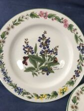Set of 4 ROYAL WORCESTER HERBS SAGE Botanic Salad Luncheon Dessert PLATES 8.25""