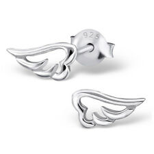 Tiny Angel Wing Post Earrings - 925 Sterling Silver - Faith Hope Prayer Studs