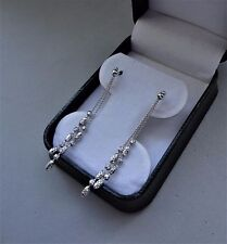 SPARKLING ITALY 14K WHITE GOLD 2 STRAND BEADED DIAMOND-CUT DROP DANGLE EARRINGS