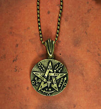 Double-sided Tetragrammaton Necklace - Brass Finish Kabbalah Tree of Life