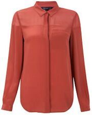 French Connection Classic Silk Pastel Red Shirt Blouse Red Elderberry Size 6 £87
