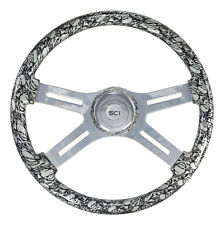 "4 Spoke 18"" Silver ""Skulls"" Steering Wheel 3-Hole Freightliner, Peterbilt, KW"