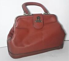 Vintage Cordovan ETIENNE AIGNER Leather Satchel Doctor Frame Bag Handbag Purse