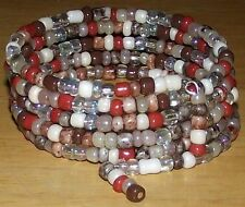 Beaded Coil Wrap Bracelet -Made in USA  -Assort. of Brown Earth Tone Glass Beads