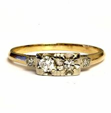 14k yellow gold .16ct VS G diamond vintage womens ring 2.2g estate antique band