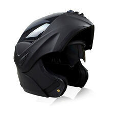 Adult DOT Motorcycle Helmet Modular Dual Visor Flip Up Matte Black Full Face M