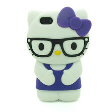 IPHONE 5 5S 5C SE HELLO KITTY GLASSES 3D Character Soft Case Cover PURPLE