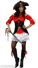 Costume Capitaine PIRATE Rouge M/L Déguisement Adulte Femme