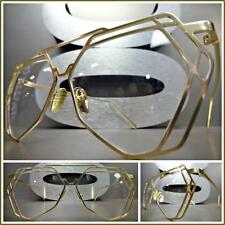 Men or Women VINTAGE RETRO Style Clear Lens EYE GLASSES Hexagon Gold Metal Frame