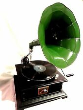 ANTIQUE GRAMOPHONE PHONOGRAPH STEEL GREEN COLOR HORN SOUND BOX NEEDLE SET