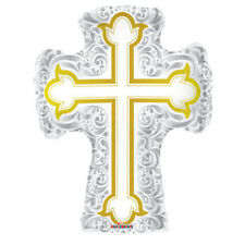 Baptism/Communion Jumbo Cross Silver Gold Shape Foil / Mylar Balloon 28 ""