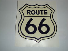 ROUTE 66  MOTORBIKE HELMET STICKERS  2 CREAM DECALS IOM TT HONDA SUSUKI NORTON