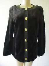 DENNIS BASSO BLACK FAUX LEATHER & FAUX FUR LONG SLEEVE COAT SIZE XS - NWT