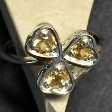 Natural 1.5ct Golden Citrine 925 Solid Sterling Silver 3-Stone Heart Ring sz 8