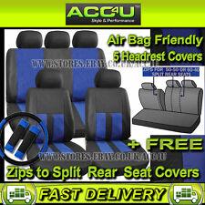 Nera Blu Effetto Pelle Airbag OK Auto Sterzo,Set Coprisedile Posteriore Diviso