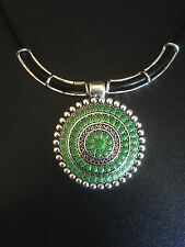 Necklace Silver Green Tribal Belly Dance Hippie Ethnic Boho Bohemian Gypsy