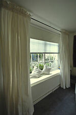 "Rod Top Ivory Pure Silk Dupioni Curtains, 100"" W X 108"" L with Blackout Lining"
