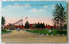 LINEN POSTCARD KINGS GATEWAY HOTEL ROLLER COASTER LAND O' LAKES WISCONSIN #pq119