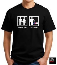 "New ""Problem Solved"" BMW Funny T-shirt Black/White"