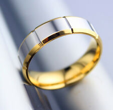 size T Men women titanium engagement wedding gold plated finger rings band  0405