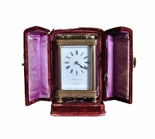 HIRSBRUNNER CARRIAGE CLOCK (w/key & Case) -Made in France (See Video) Circa 1890