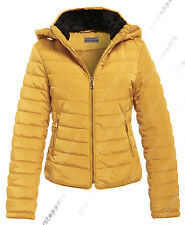 New Quilted Padded Puffer Jacket Womens Bubble Fur Parka Coat Size 6 to 14
