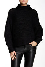 HELMUT LANG WOOL BLEND INTARSIA KNIT TURTLENECK SWEATER SMALL