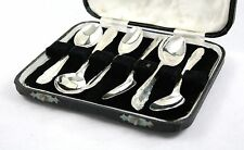 Vintage in Sterling Silver coffee DEMITASSE CUCCHIAI Set di 6 con montante SHEFFIELD 1937 64
