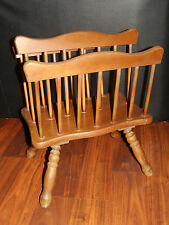 Vintage Magazine Rack Book Newspaper Organizer Carrier Stand Wood Country Style