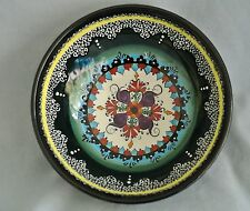 """Kutahya Folk Art Hand Painted Colorful/Relief Signed Pottery Bowl-6""""-Turkey"""