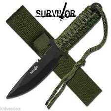 Survivor Etch Military Survival Knife with Army Green Sheath/Strap