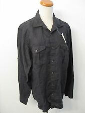 NWT J CREW Irish Linen By Baird McNutt Black Camp Shirt Size M