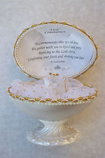 FIRST COMMUNION@Unique@Faberge-Based EGG@Easter@Gift@Glass@Inspirational Verse