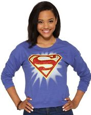 NWT DC Comics Blue Superman Cropped Sweatshirt with Red Glitter Logo Size XL