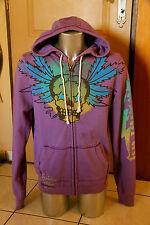 veste à capuche zippé violet ED HARDY c. audigier T. L  NEUF S ÉTIQUETTE