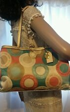 COACH SNAPHEAD PINK/TEAL/GOLD/KHAKI/IVORY SATEEN KISSLOCK CARRY SATCHEL F19216