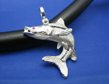 Solid Sterling Silver .925 Men Snook Fish Charm Pendant with Ruby & Shackle Bail