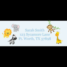 30 Personalized Return Address Labels - Zoo Animals