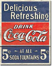 Coca Cola Sign Coke Drink Weathered Wood Metal Vintage Advertising New USA