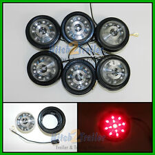 "(6) CLEAR LENS / RED 13 LED Light Trailer 2-1/2"" round,Clearance marker 2.5"""